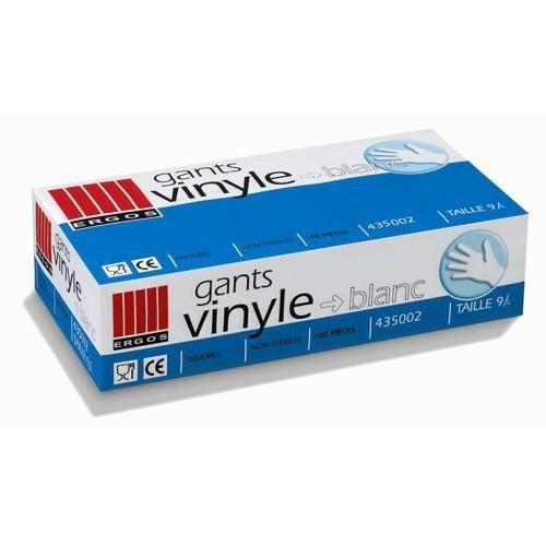 Boite gants ERGOS vinyle blanc poudrés L x100. Boîte de 100 gants vinyle à usage unique, taille L.