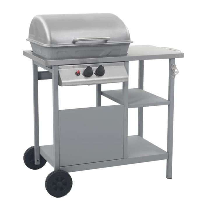 Offi-3659Barbecue à gaz Plancha gaz PROFESSIONNEL - Barbecue Grill Compact Barbecue camping gaz Cuisine extérieure - avec tablette à