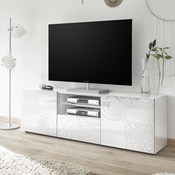 Grand meuble TV blanc laqué design NERINA L 181 x P 42 x H 57 cm Blanc