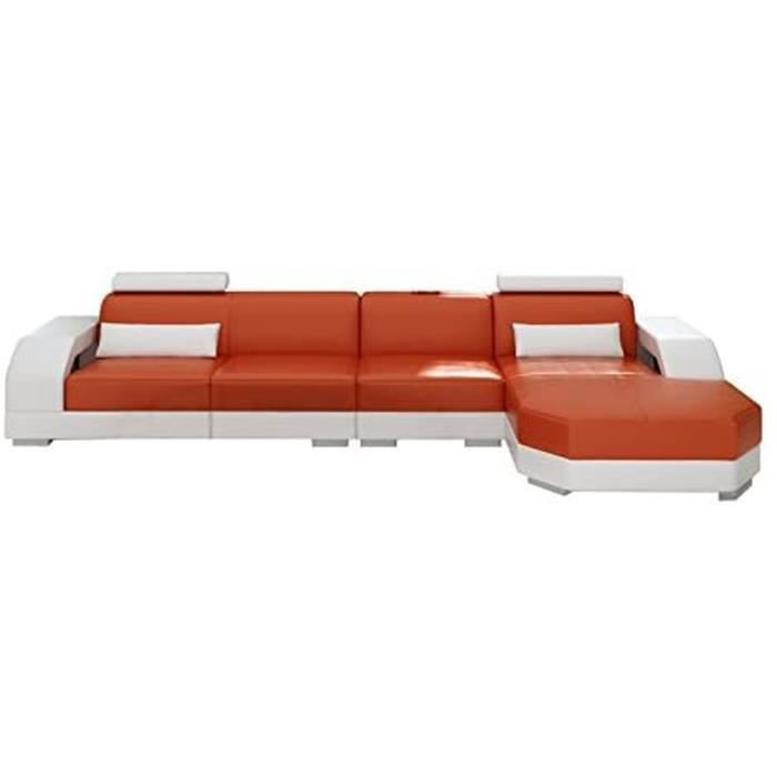 JVmoebel Canapé en Cuir Canapé D'Angle Design Canapé Linz II, Noir/Rouge, 367x200 Ou 200x367, Simili Cuir