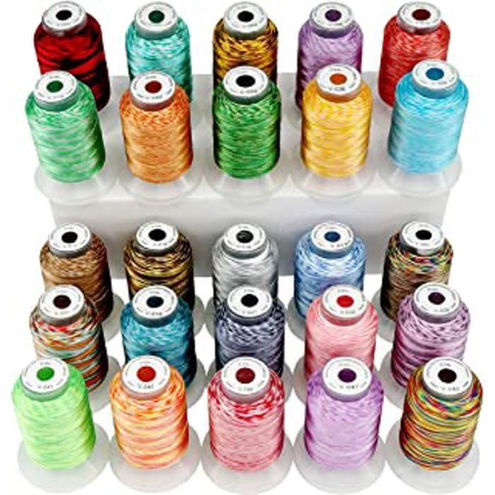 Brothread 25 Multicolore Polyester Fil Machine À Broder Pour Brother-Babylock-Janome-Singer-Kenmore Machine 500M (550Y) - Bobine