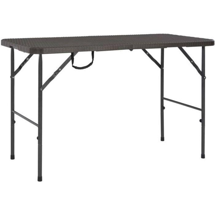 New💜- Table de jardin Table de balcon Table à manger d'extérieur pour 4-6 personnes pliante Marron 120x60x74cm PEHD Aspect de rotin
