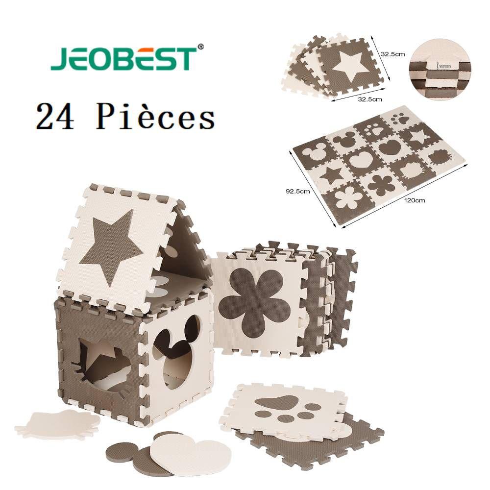 JEOBEST® 24 Pièces Puzzle Ramper Tapis Bébé Café Mignon en Mousse EVA Jouets Jeux