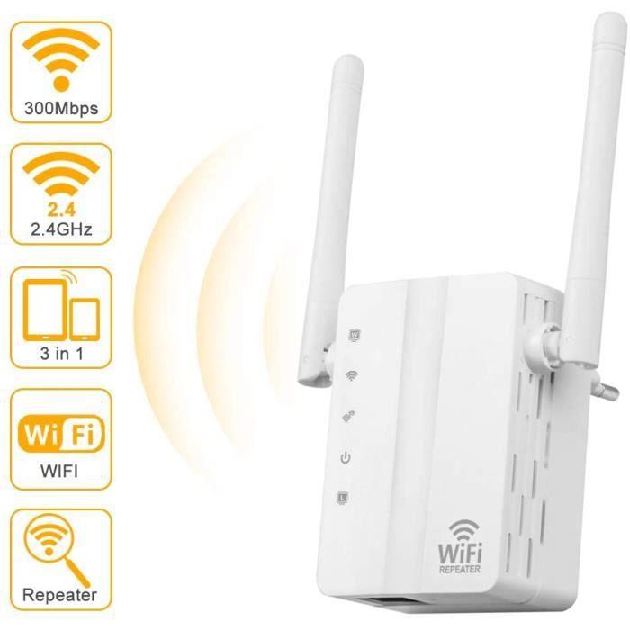 Répéteur WiFi -AC 300 Amplificateur WiFi,Repeteur WiFi Extender avec 2 Ports LAN, WiFi Extender,WiFi Booster,2dbi Antennes
