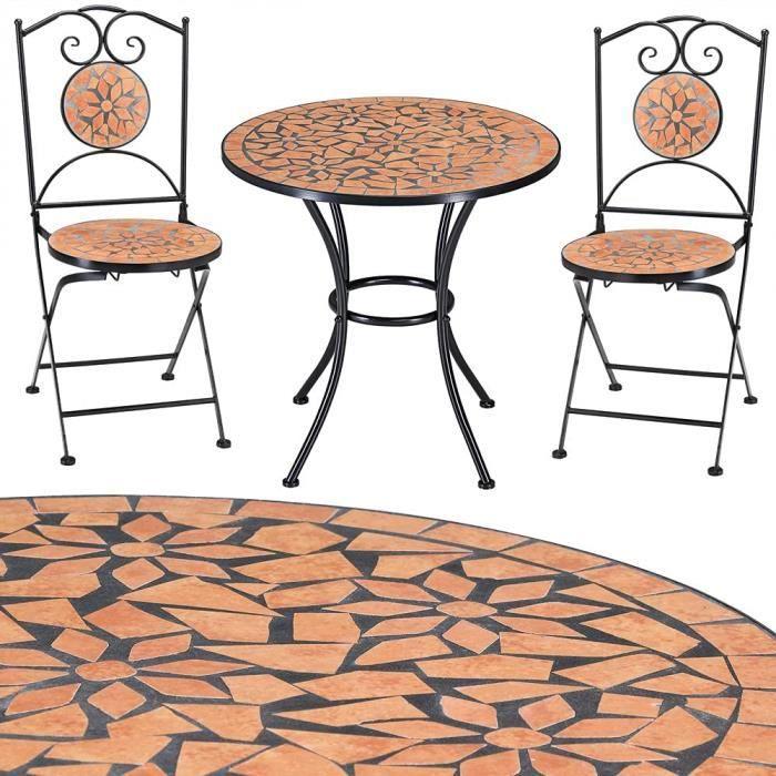 Salon de Jardin Roma 1 Table 2 chaises Fer forg et mosaique mobilier de Jardin Neuf[10143]