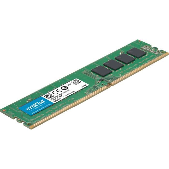 Mémoire Crucial 16Gb Ddr4 2666 Mt/S (Pc4 21300) Cl19 Dr x8 Unbuffered Dimm 288pin (Ct16g4dfd8266)