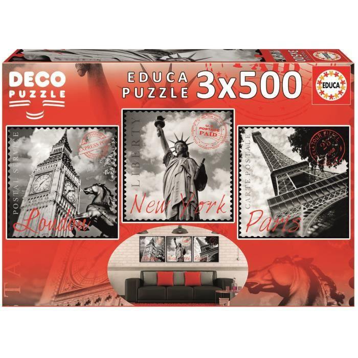 EDUCA - Puzzle 3X500 Grandes Villes