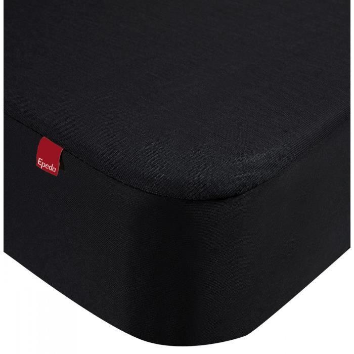 Drap housse protège matelas imperméable 2 en 1 Epeda noir 90x200