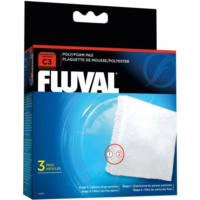 FLUVAL Plaquette mousse/polyester C3,3unité - Pour poisson