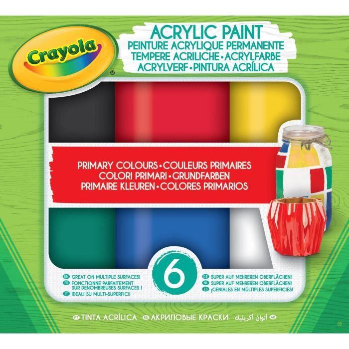 Crayola - Acrylic Paint - Couleurs Primaires - Peinture et accessoires