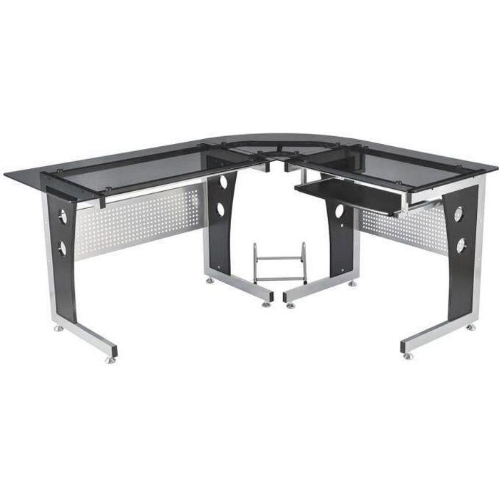 Bureau d'informatique angle pour ordinateur meuble table de travail plateaux en verre fume trempe 19
