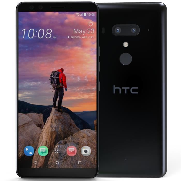 HTC U12+ - Double SIM - 64 Go - Titanium Black