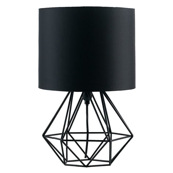 MiniSun Lampe à Poser. Aspect Rétro. Géométrique en Noir Satiné. Tambour en Tissu Noir