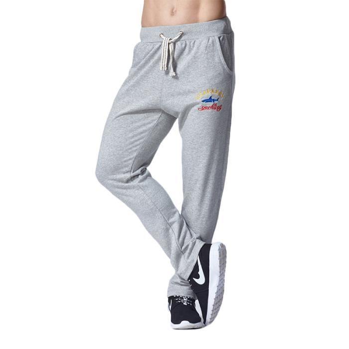 Pantalon de jogging Homme slim fit coton Pantalon Hommes sport XXL avec petit logo Vêtement Masculin - Noir