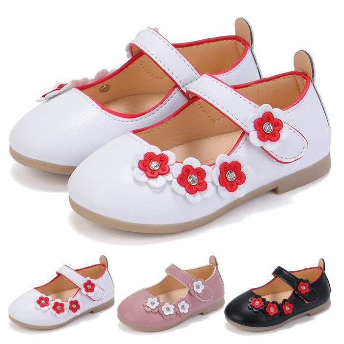 Chaussures de princesse pour fille tout-petit bébé enfants bébé fleurs sandales simples chaussures Noir 6152
