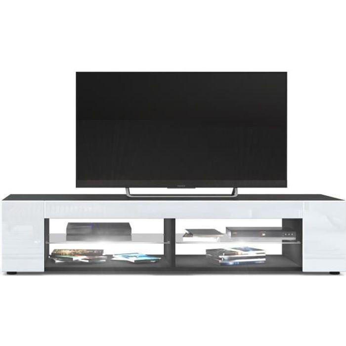 Meuble Tv Noir mat Façades en Blanc laquées led Blanc
