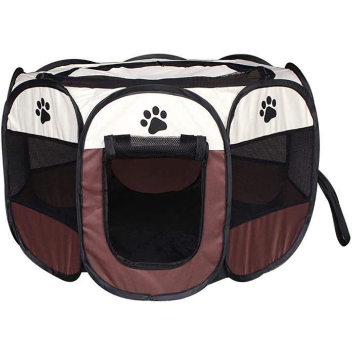 RUMOCOVO® Cage pour Chien Tente de compagnie Portable animal de compagnie chien pliant octogonal cage ,Café 114x114x58CM