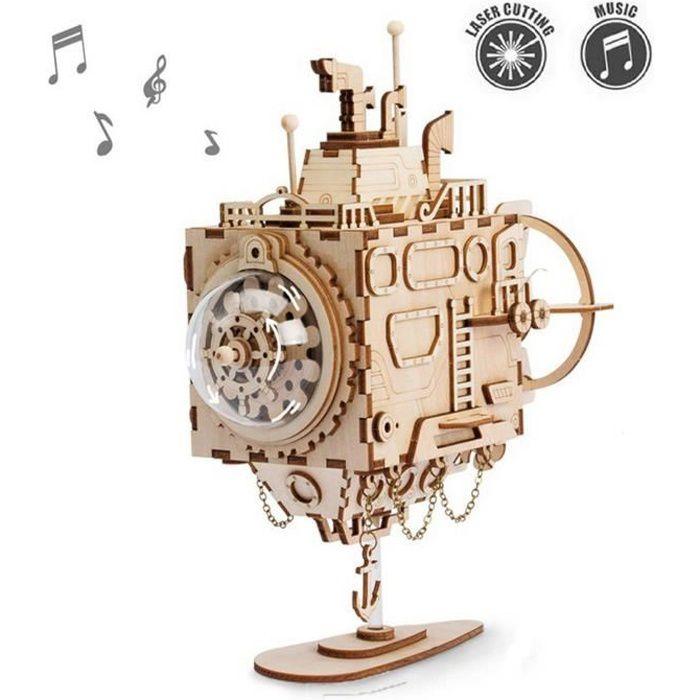 Bricolage Modèle de Construction Kits de boîte à Musique en Bois Jeu de Puzzle 3D Submarine Mécanique Maquette Jouet Cadeau