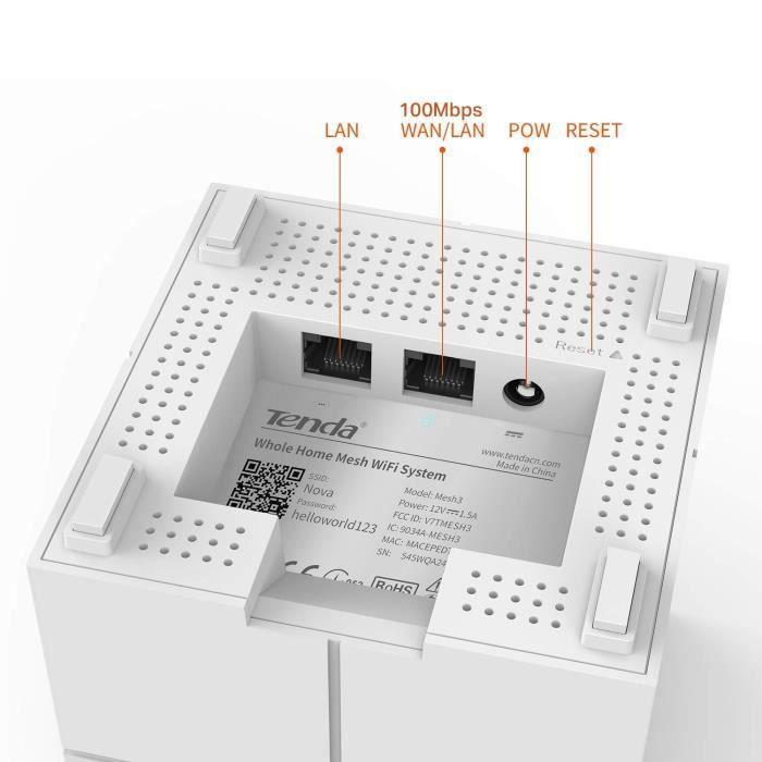 Tenda Nova MW6-3 Système Wi-Fi Mesh pour Toute la Maison (Routeur & Répéteur Wi-Fi remplacement), Couverture Wi-Fi de 500 m², 2