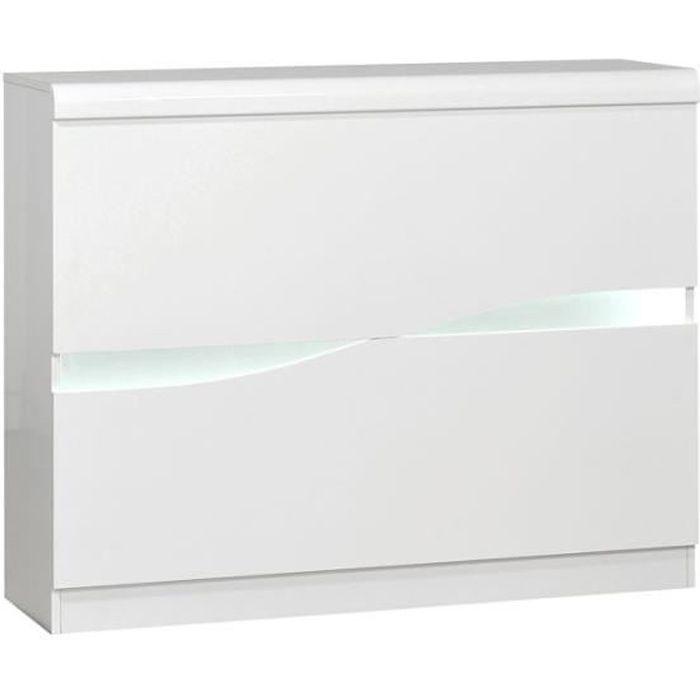 Bar aménagé Blanc laqué brillant à LEDs - PESMES - L 125 x l 36 x H 100