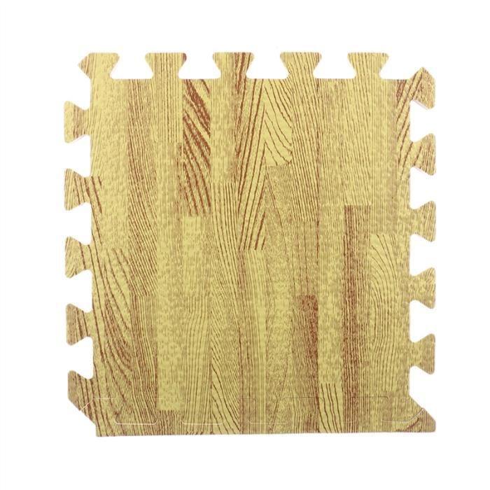 30cm carré tapis de yoga en mousse EVA étage tapis de verrouillage tapis de sol tapis d'exercices de yoga fitness (grain de bois