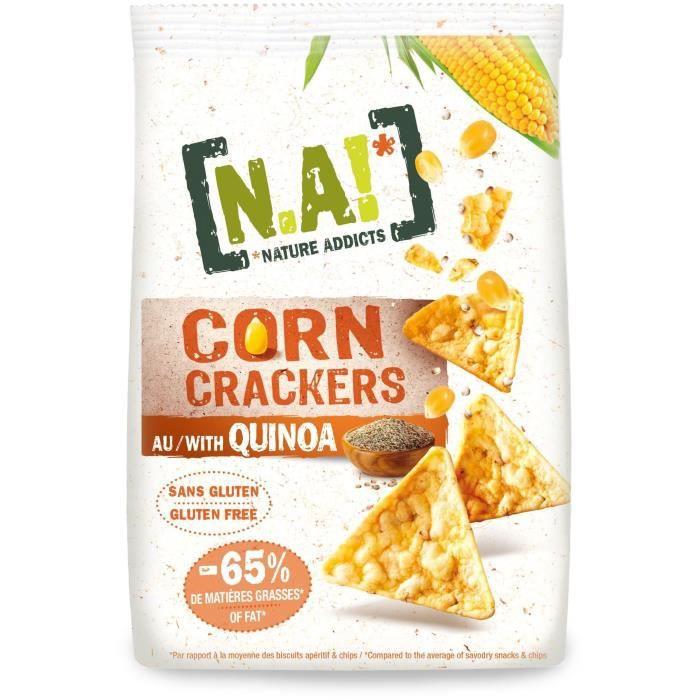 N.A! NATURE ADDICTS Crackers soufflés à base de maïs et quinoa bio - Sans gluten - 50 g
