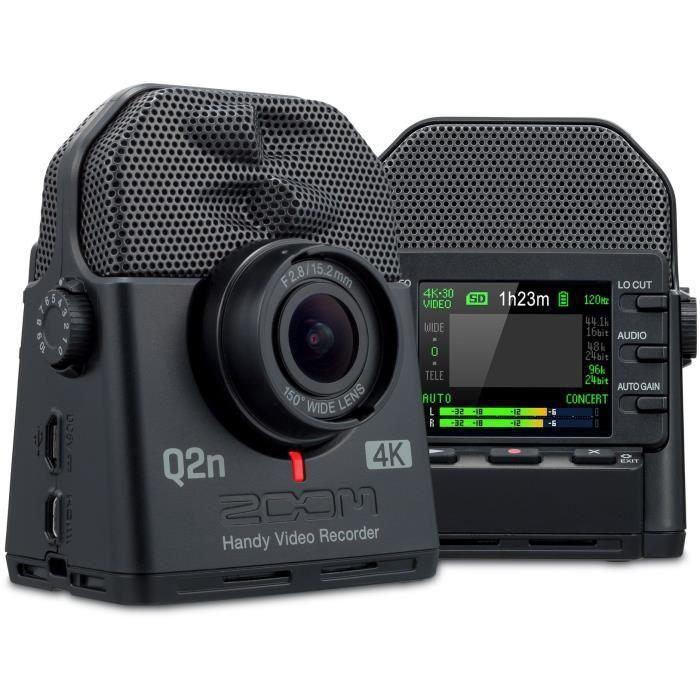 Zoom Q2n-4K Ecran LCD couleur - Capteur CMOS 1/2,3?? 16 mégapixel, ouverture F2.8, 150° - Microphone X/Y stéréo 120°,