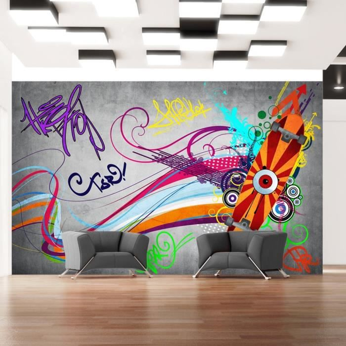 papier peint intiss graffiti 150x105 cm 3 l s achat vente papier peint papier peint. Black Bedroom Furniture Sets. Home Design Ideas