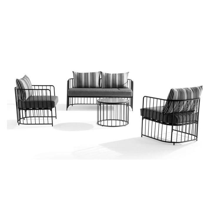 Salon bas VINTAGE en métal et coussins gris - Achat / Vente ...