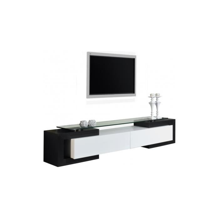 banc tv design laque blanc et noir brillants achat vente meuble tv banc tv design laque. Black Bedroom Furniture Sets. Home Design Ideas