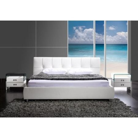 lit capitonn blanc dove 180x200 cm achat vente. Black Bedroom Furniture Sets. Home Design Ideas