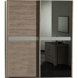 garde robe 193cm 2 portes coulissantes coloris ch ne clair achat vente armoire de chambre. Black Bedroom Furniture Sets. Home Design Ideas