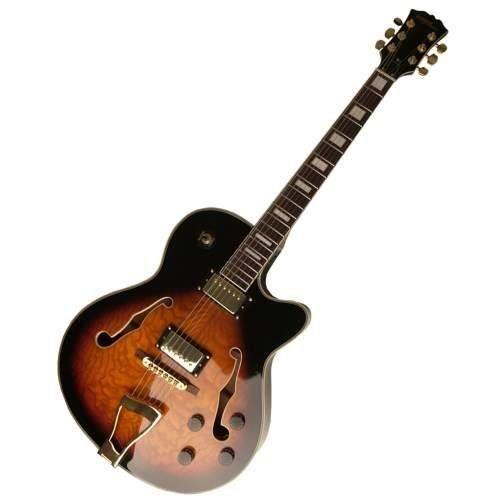STAGG Guitare Electrique Jazz Semi-Acoust. Blanc