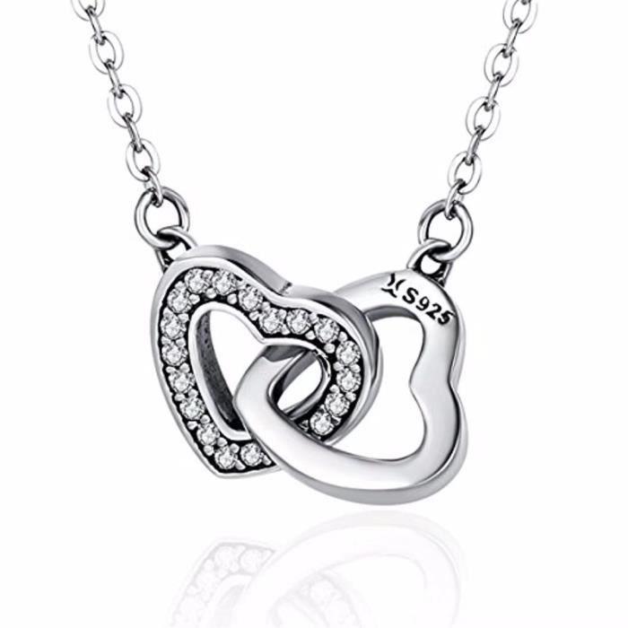 """Femme Coeur Creux Collier Pendentif Chaîne 18/"""" Argent Sterling 925"""