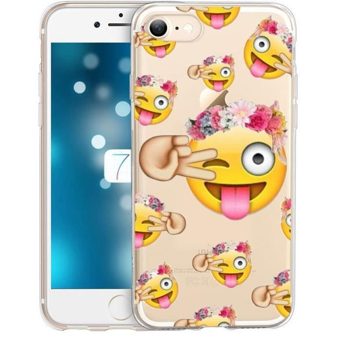 coque iphone 6 plus smiley fleur emojii emoticone