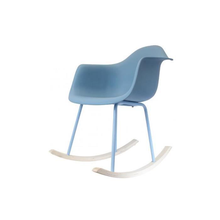 FAUTEUIL LULLABY Fauteuil à bascule - Tissu Bleu - L 63 x P
