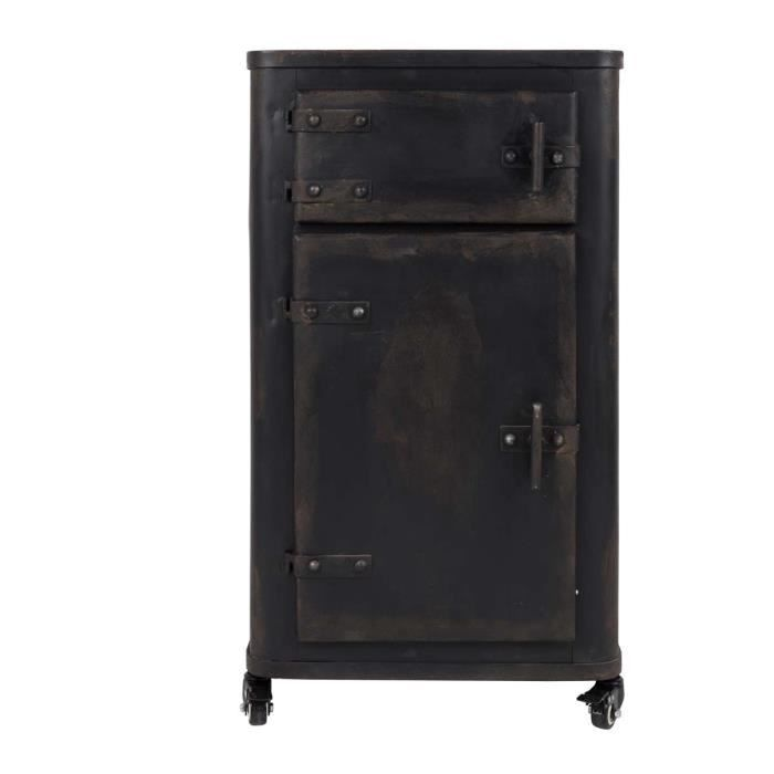 meuble de rangement m tal indus brooke couleur gris anthracite achat vente petit meuble. Black Bedroom Furniture Sets. Home Design Ideas