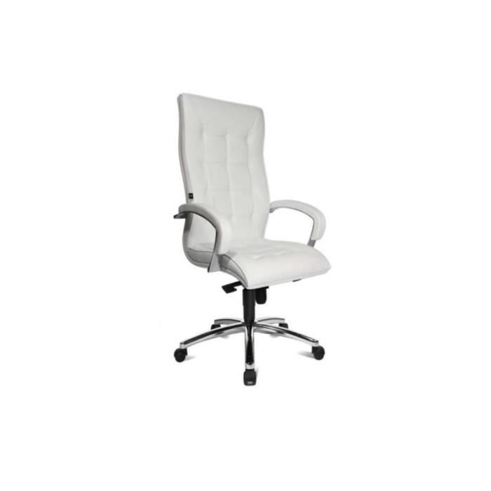 fauteuil de bureau r glable triumph en cuir blanc achat. Black Bedroom Furniture Sets. Home Design Ideas