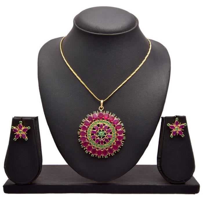 Womens Jfl - Traditional Ethnic One Gram Gold Plated Stone Designer Pendant Set With Earring For & K9BQT