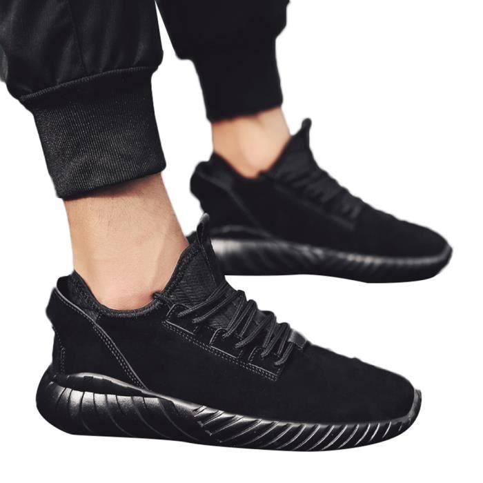 huadedu  Mode casual Hommes plates lacées Chaussures de sport Solide Couleur Non-Slip Sneakers Light  Noir