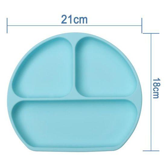 B/éb/é Assiette Napperon en Silicone Assiette Antid/érapante avec Ventouse Sans BPA et Approuv/ées par la FDA Set de Table Placemat Enfant Adapt/é au Lave-vaisselle et au Four /à micro-ondes