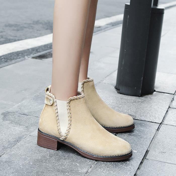 Femmes solides Chaussures Compensées couleur Martain Bottes en daim Bottes Courtes ronde Chaussures Toe Beige