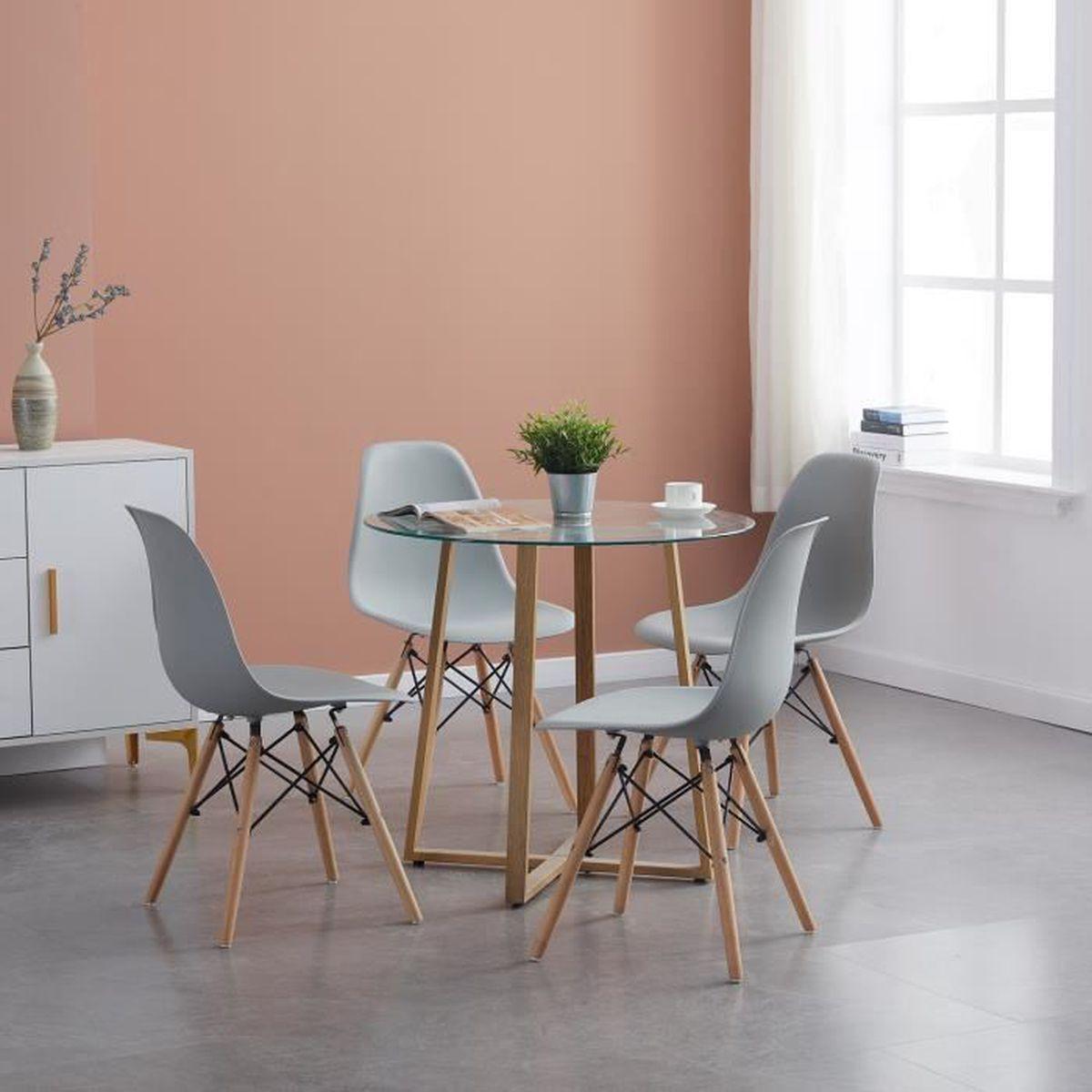 LiePu Ensemble table à manger de 5 à 5 personnes + 5 chaises gris