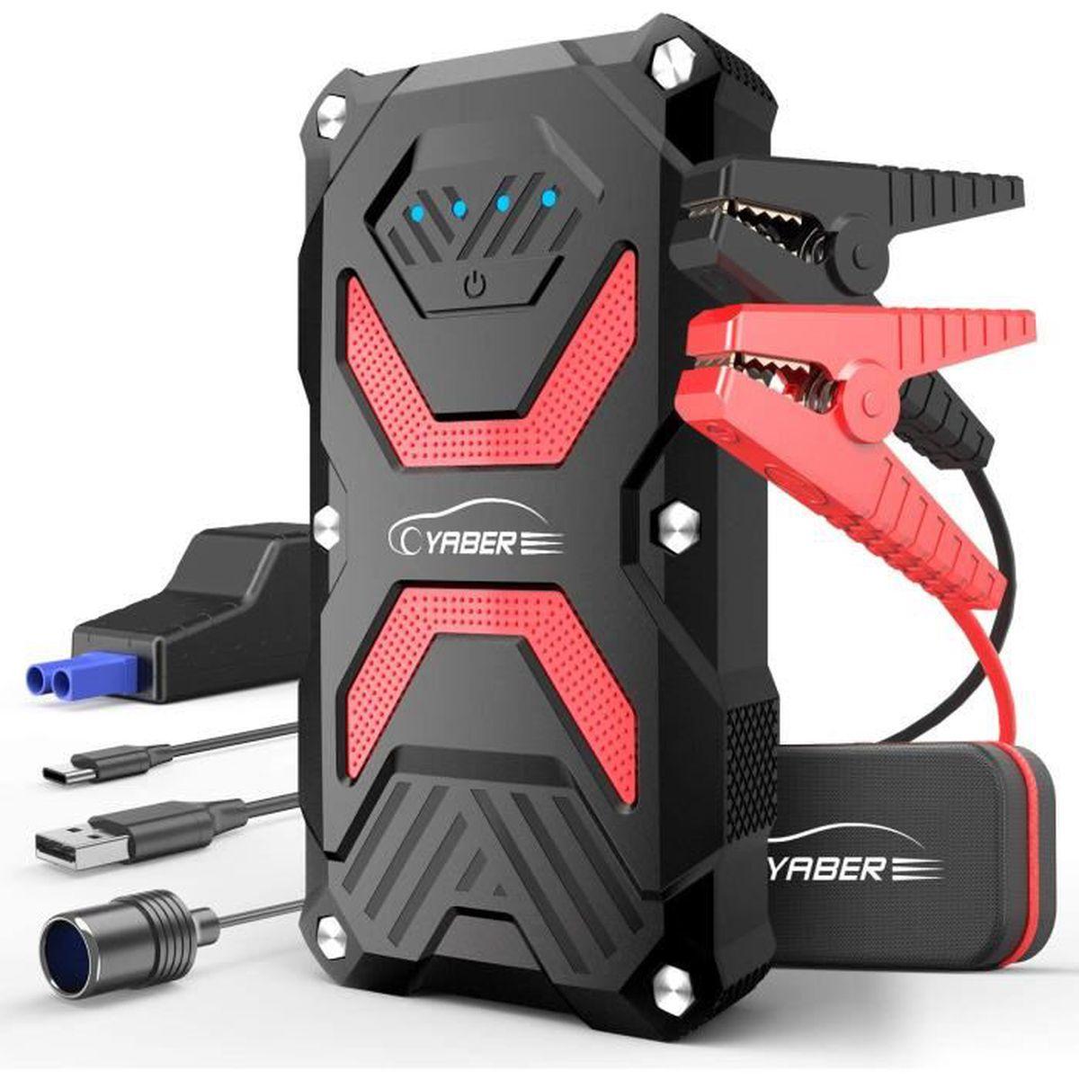 pour V/éhicules Disel ou Essence 7L avec Batterie 12V 1 Port Quick Charge 3.0 et 2 Ports iSmart, Lampe Torche de Secours D/émarreur de Voiture 14000mAh 1000A RAVPower Jump Starter et Booster Batterie