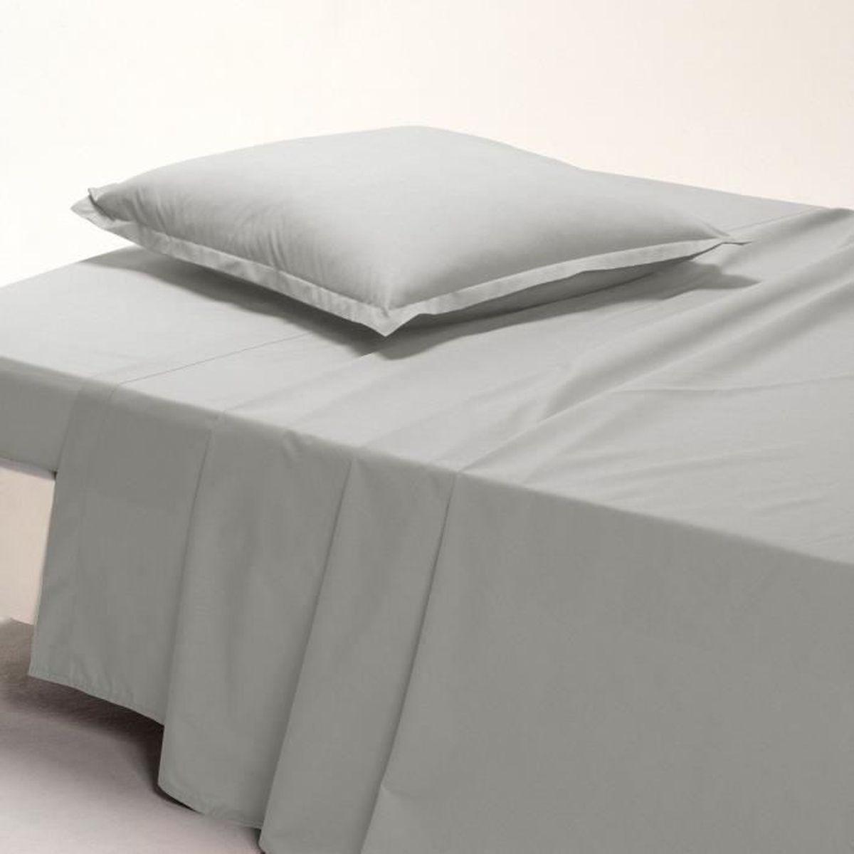 Drap Plat Uni Marque La Redoute 180 X 290 Cm Pur Coton