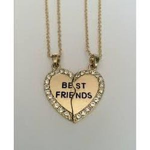 SAUTOIR ET COLLIER 2 colliers COEUR  BEST FRIENDS SECABLES DORE