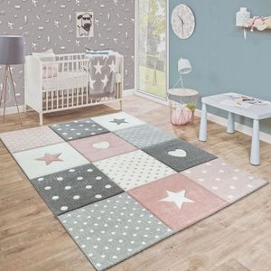 TAPIS Tapis Enfant Couleurs Pastel À Carreaux Points Cœu