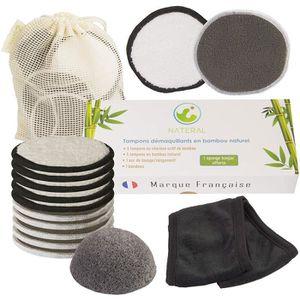 Tampons D/émaquillants En Tissu En Bambou Lingette D/émaquillante Lavable Microfibre Disque d/émaquillant lavable bio Tous types de peau Demaquillant visage R/éutilisable d/émaquillants bambou