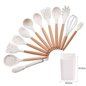 Dveda Lot de 11 ustensiles de cuisine en silicone anti-rayures avec 10 crochets et spatules en silicone r/ésistant /à la chaleur avec poign/ées en bois Rose