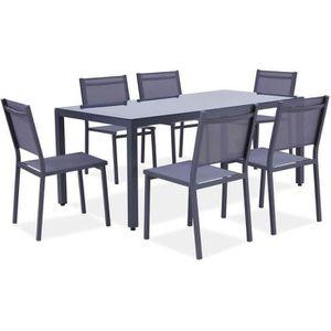 SALON DE JARDIN  Ensemble table de jardin 180 cm + 6 chaises alumin